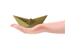 Paper boat over a palm of your hand Vector Illustration