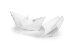 Paper boat on paper waves, Royalty Free Stock Image