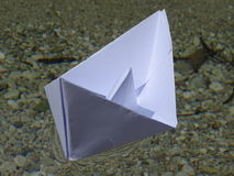 Paper boat. In the photo is paper boat on the river Isar near Vorderriß Bavaria, Germany Stock Photo