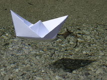Paper boat. In the photo is paper boat on the river Isar near Vorderriß Bavaria, Germany Stock Image