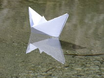 Paper boat. In the photo is paper boat on the river Isar near Vorderriß Bavaria, Germany Stock Photography