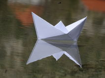 Paper boat. In the photo is paper boat on the river Isar near Vorderriß Bavaria, Germany Royalty Free Stock Photo