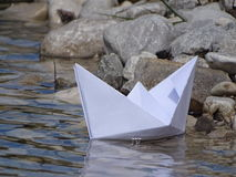 Paper boat. In the photo is paper boat on the river Isar near Vorderriß Bavaria, Germany Stock Images
