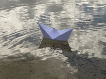 Paper boat. In the photo is paper boat on the river Isar near Vorderriss Bavaria, Germany royalty free stock photo