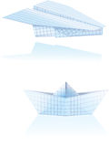 Paper boat and plane. Paper boat and paper plane Stock Illustration