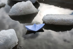 Paper boat in a pool Stock Photography