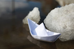 Paper boat in a pool Royalty Free Stock Photography
