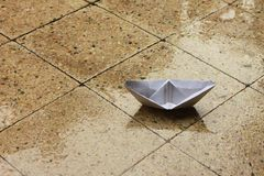 Paper Boat on Porch royalty free stock images