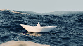 Paper boat sailing on blue water 3d illustration Royalty Free Stock Images
