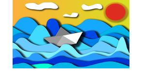 The paper boat sails through the restless sea during the day. vector illustration