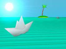 Paper boat sails to the island Stock Image