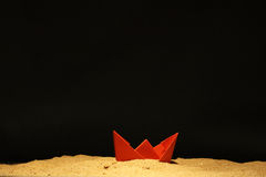 Paper Boat In Sand Royalty Free Stock Photography