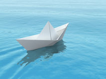 Paper boat on a sea. Paper boat on a blue sea. 3d illustration Royalty Free Stock Images