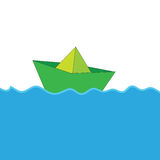 Paper boat at sea color vector Stock Image