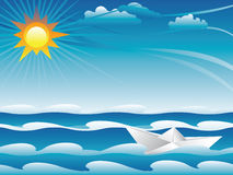Paper Boat in the Sea Stock Photos
