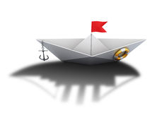 Paper boat with the shadow of a large ship. 3d. Paper boat with the shadow of a large ship on a white background. 3d conceptual illustration Royalty Free Stock Image