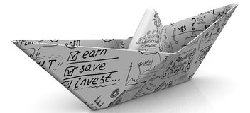 Paper boat from a sheet with business sketches. On white surface. Isolated. 3D Illustration Royalty Free Stock Photos