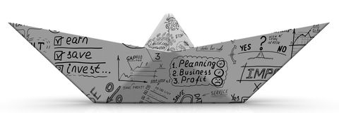 Paper boat from a sheet with business sketches. On white surface. Isolated. 3D Illustration Royalty Free Stock Photography