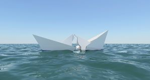 Paper Boat sinks in water Royalty Free Stock Photos