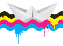 Paper boat on the waves of print colors Royalty Free Stock Photography