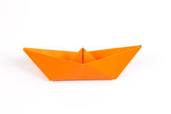 Paper Boat on white background Stock Photo