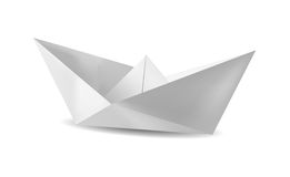 Paper boat. White paper boat with white background Royalty Free Stock Photo