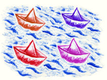 Paper boats. Sailing in the waves Royalty Free Stock Photo
