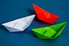 Paper boats. Red,white and green paper boats Stock Image