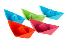 Paper boats Stock Images
