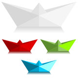 Paper boats. With different colors Royalty Free Stock Photography