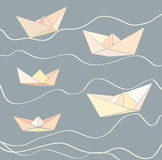 Paper boats. And abstract waves Stock Photography