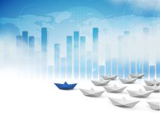 Paper boats with bar charts. Digital composite of Paper boats with bar charts Stock Photos