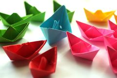 Paper boats, Colorful origami paper ships. stock image