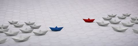 Paper boats. Digital composite of Paper boats Royalty Free Stock Image
