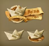 Paper boats  icons. Set with paper boats, vector icons Stock Images