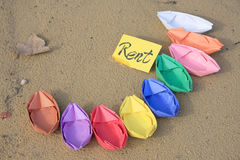 Paper color boats for rent Stock Images
