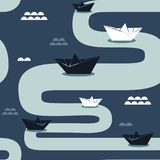 Paper boats, seamless pattern vector illustration