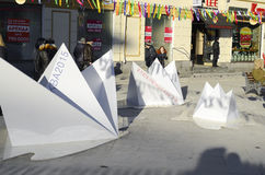 Paper boats in street. Royalty Free Stock Images