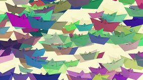 Paper boats in various colors on white stock footage