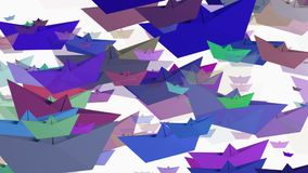 Paper boats in various colors on white stock video