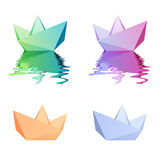 Paper boats. Vector icons Royalty Free Stock Image