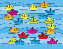 Paper boats on water. Cartoon, abstract vector art illustration Stock Photography