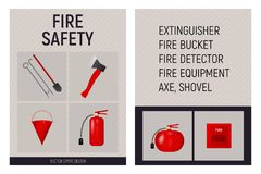 Paper booklet fire safety concept. Fire extinguisher, shovel, axe, bucket and fire detector. Vector illustration Royalty Free Stock Photo