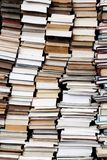 Paper books stacks in Paris france. Real books versus electronic books : why print books are better than ebooks  ? Not only for the readers  : a big flea market Stock Photos