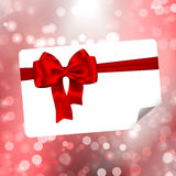 Paper with bow on bokeh lights abstract background. Paper with red ribbon and bow on bokeh lights abstract background. Vector illustration Stock Photos
