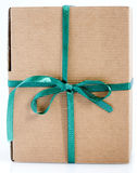 Paper box. Easy to isolate closed paper box with green ribbon Stock Images