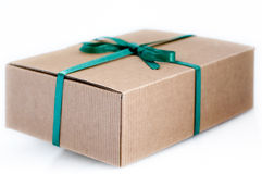 Paper box. Easy to isolate closed paper box with green ribbon Stock Photo