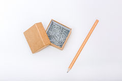 Paper box and clips Royalty Free Stock Photos