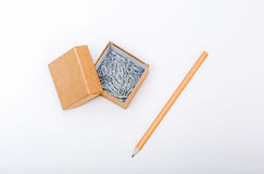 Paper box with clips inside Royalty Free Stock Images