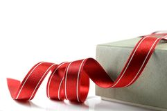 Paper box and cloth ribbon Stock Photos